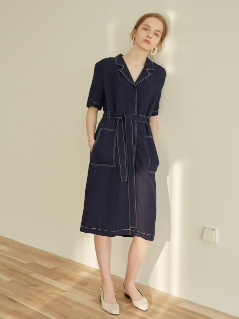 STITCHED LINEN DRESS_.NAVY