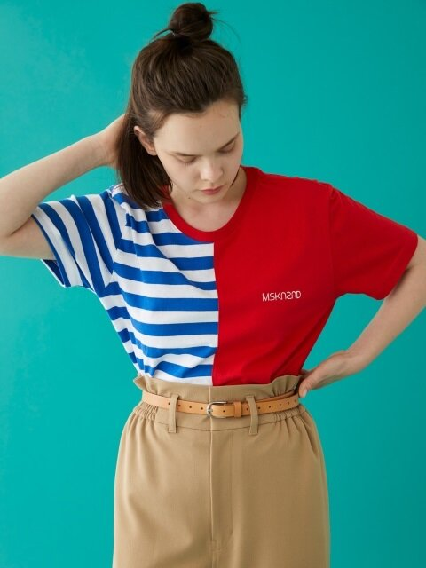 HALF STRIPE SS T-SHIRT BLUE/RED