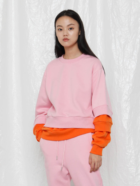 [UNISEX]R TRIPLE HEM LAYERED SWEATSHIRT