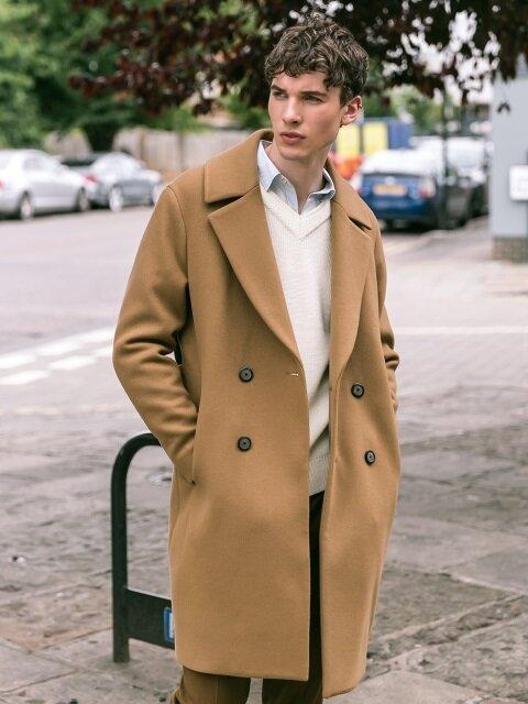 Semi Oversized Double Coat - Beige