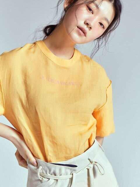 DROP SLEEVE LINEN BLOUSE [ORANGE]