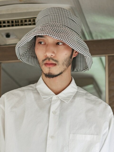 Rayon gingham check 3pack - (hide your face) over Bucket hat