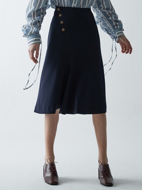 CURVES BUTTON FLARE SKIRT_NAVY