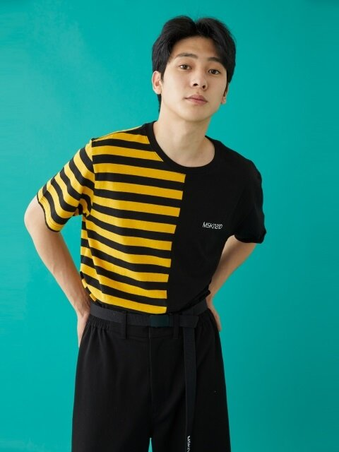 HALF STRIPE SS T-SHIRT YELLOW/BLACK