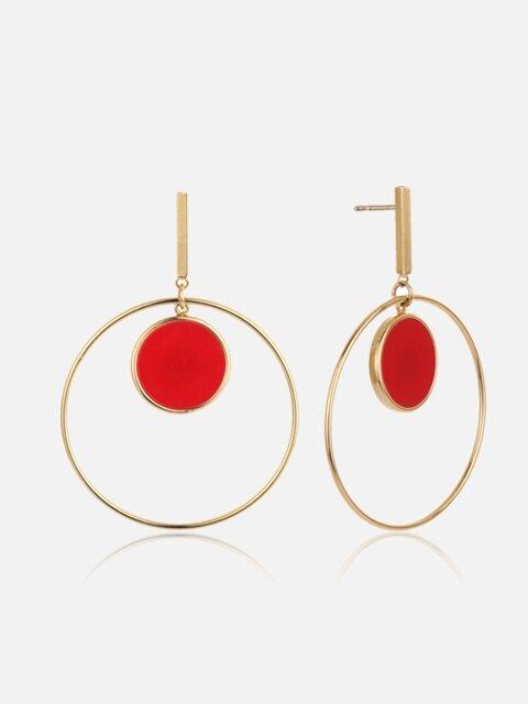 TWIN CIRCULAR RED EARRING