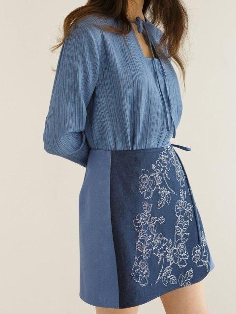 Denim wrap ribbon skirt-blue