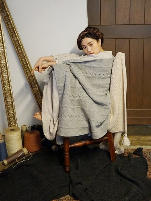 니트 태슬 러너 : knit tassel runner -light gray