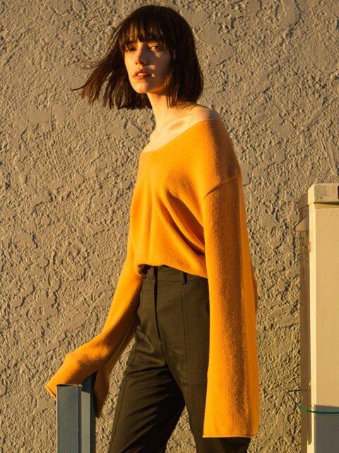 AMIE CASHMERE V-NECK SWEATER atb120w (Orange)