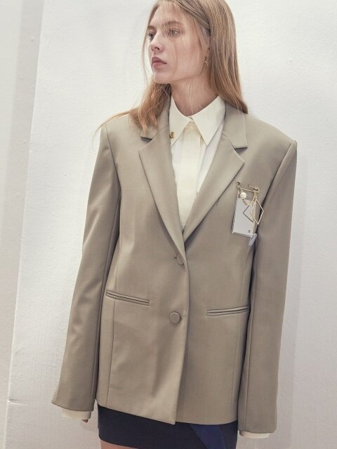 17SS MIRROR-DETAIL SINGLE-BREASTED JACKET(SAGE GREEN)