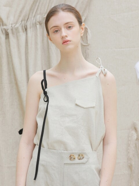 17 SS unbalanced ribbon linen top (beige)