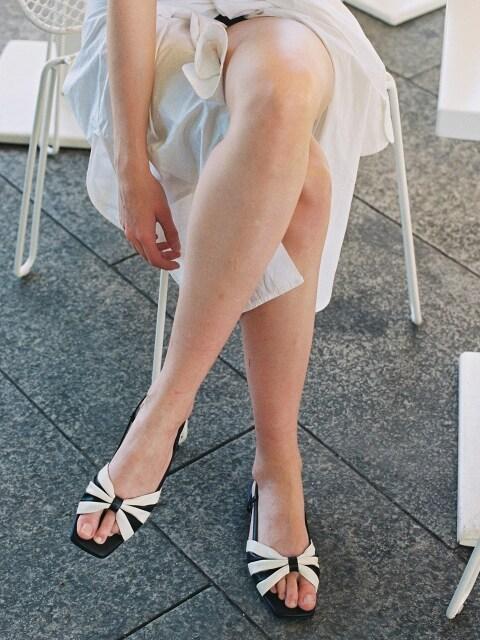 stripe bow sandals
