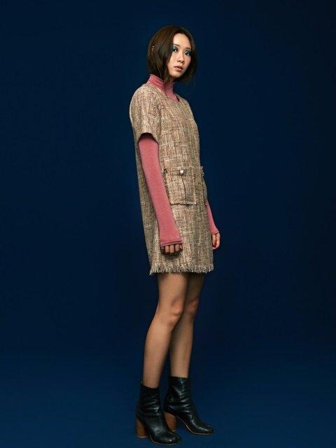 Tweed Mini Dress in Beige