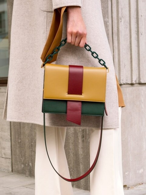 AGNES COLOR BLOCK CHAIN BAG aaa057w(Camel Green)