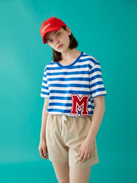 M PATCH STRIPED SS T-SHIRT BLUE