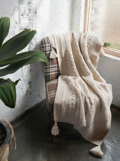 니트 태슬 러너 : knit tassel runner - beige