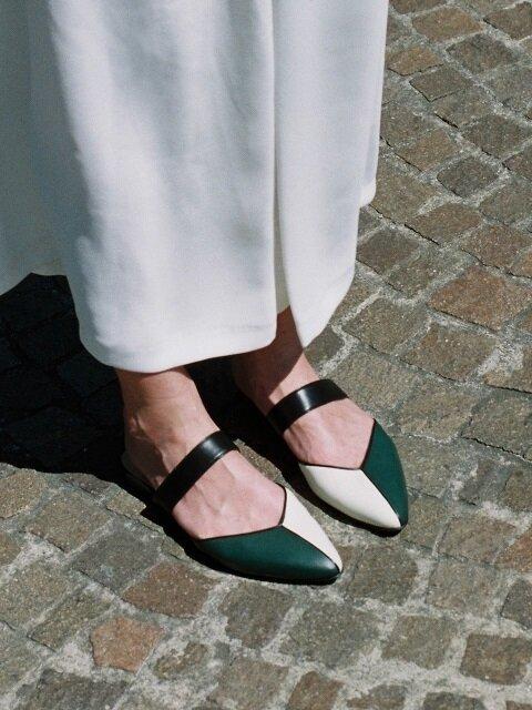 mondrian sandals (deep green)