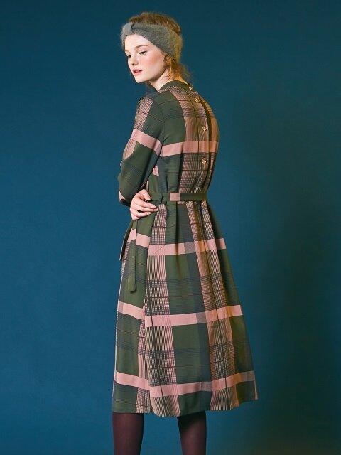 Scarf check dress [khaki]