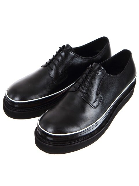 Oil Washing Black Leather Piping Derbys