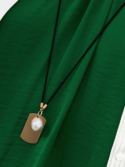Sodier Tag and Pearl Necklace