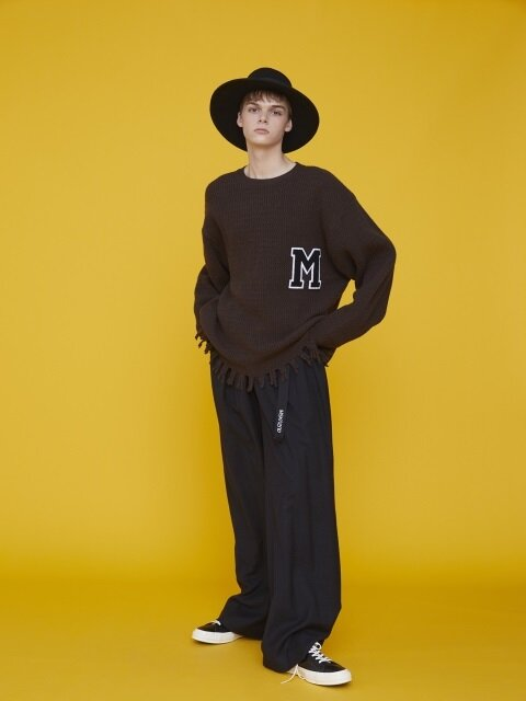 RAW EDGE M PATCH SWEATER BROWN