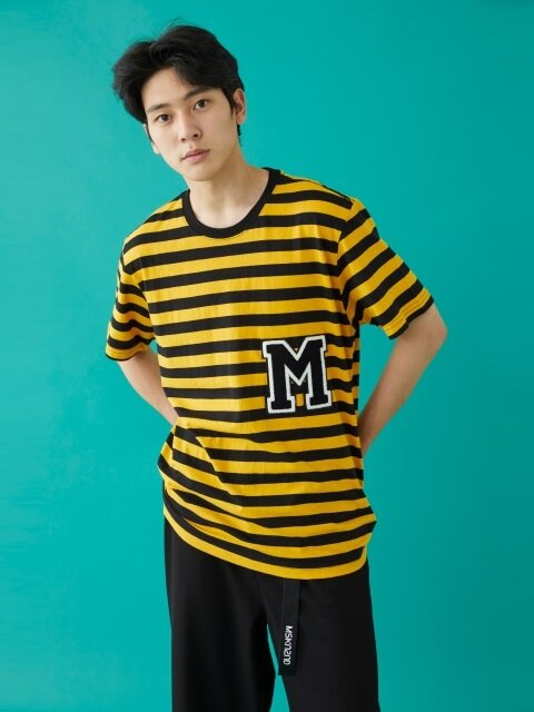 M PATCH STRIPED SS T-SHIRT YELLOW