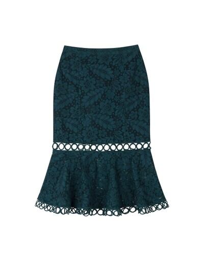 FLOWER DOT LACE MERMAID SKIRT_BLUISH GREEN