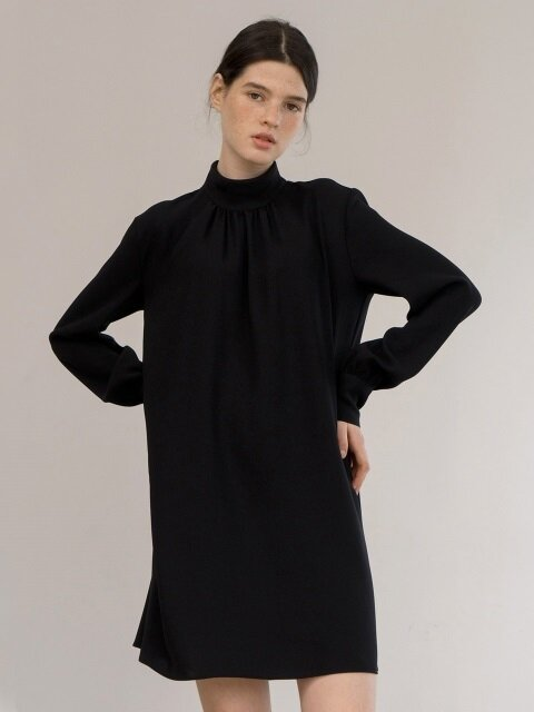 shirring sleeve dress-black