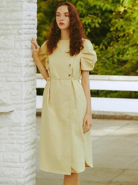 [EXCLUSIVE]PUFF SLEEVE DRESS (yellow)