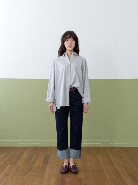OVERFIT STRIPED SHIRTS-GREY