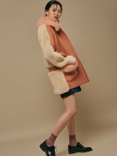 peach fur short coat