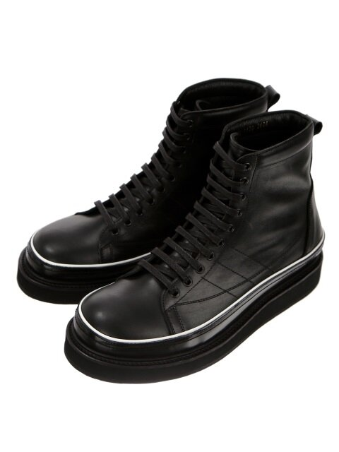 Oil Washing Black Leather Piping Boots
