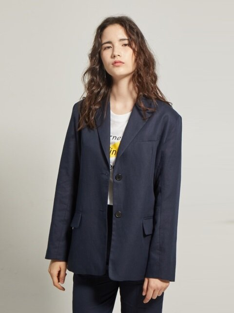 linen suit single jacket