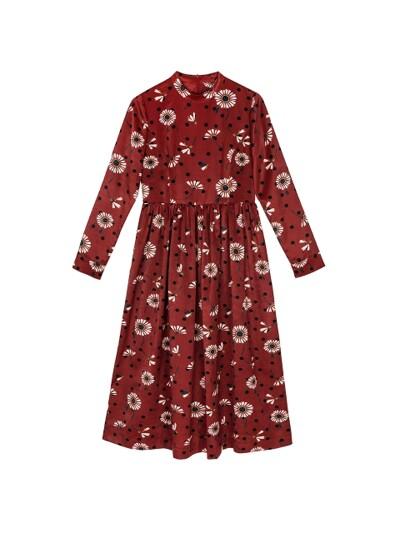 DAISY DOT PRINT CORSET BELT DRESS_RED