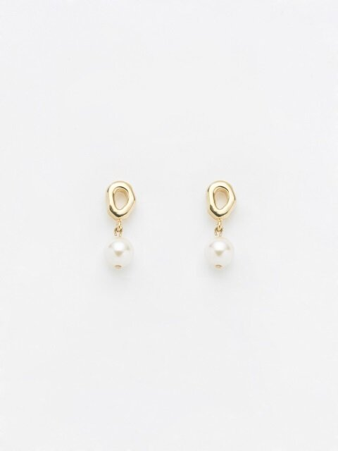 GREY DROP PEARL EARRING_GOLD