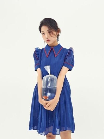 COMBI COLLAR MINI DRESS_COBALT BLUE