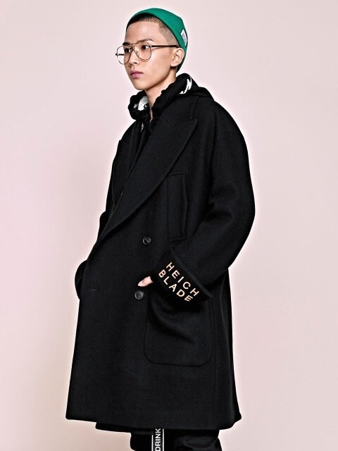 BLADE EMBROIDERY DOUBLE COAT(BLACK)