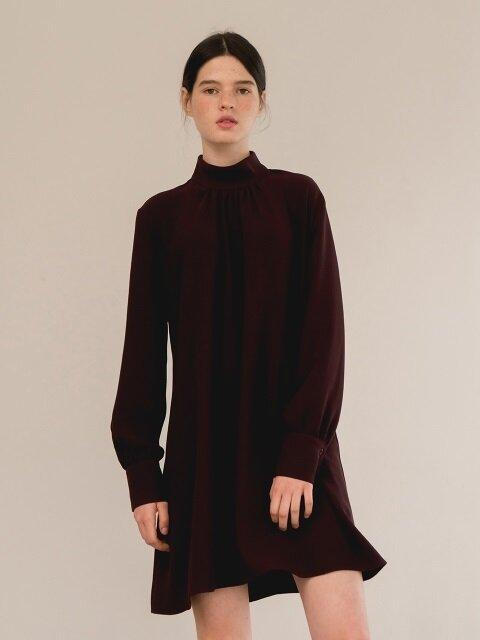 shirring sleeve dress-wine