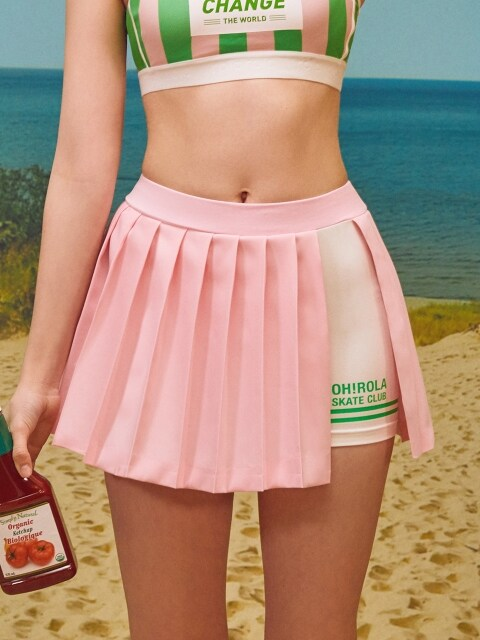 (SK-18152)ROLA WRAP PLEATS SKIRT PINK