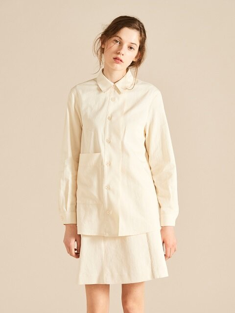 18 S/S FIN BLOUSE [IVORY,NAVY]