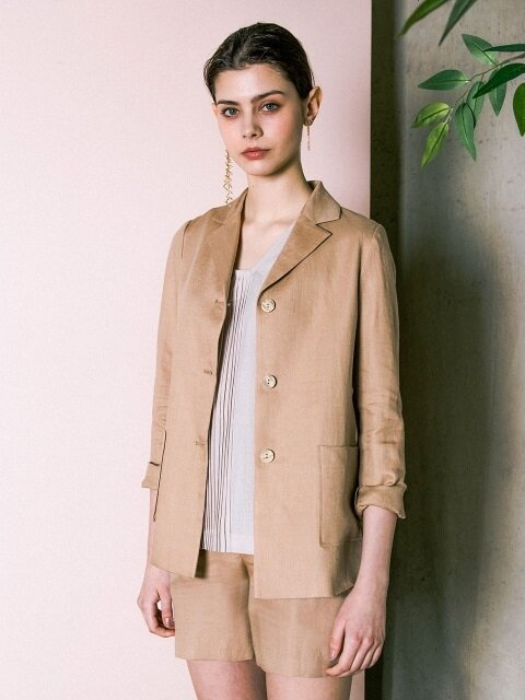 Linen  Three Button  Jacket _ Beige