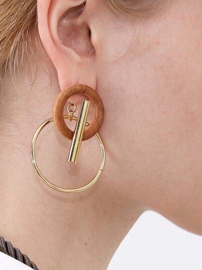 Wood and Bar Earrings