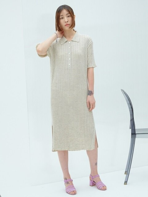 PALE BEIGE LINEN BLENDED COLLAR KNIT DRESS