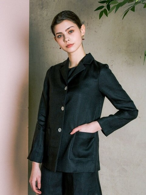 Linen  Three Button  Jacket _ Black