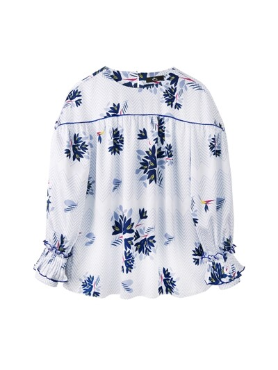 PLEATS CUFFS PIPING LINE FLOWER BLOUSE_WHITE