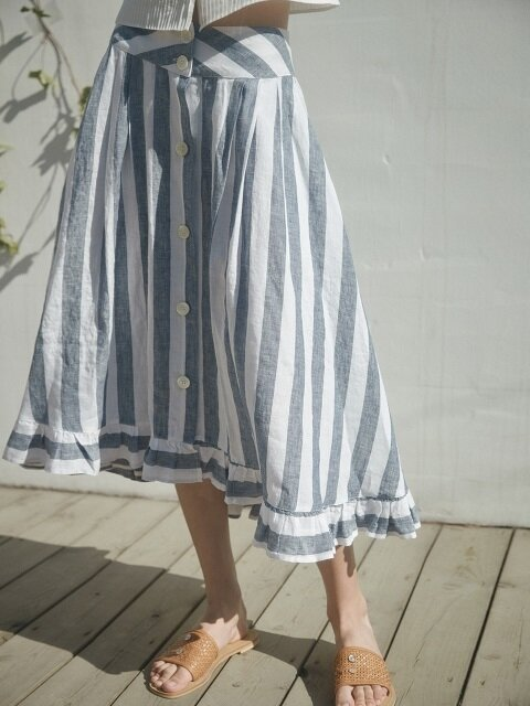 striped tiered linen skirt