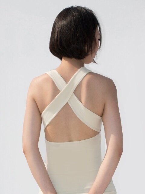 X Back Tank Top-Vanilla
