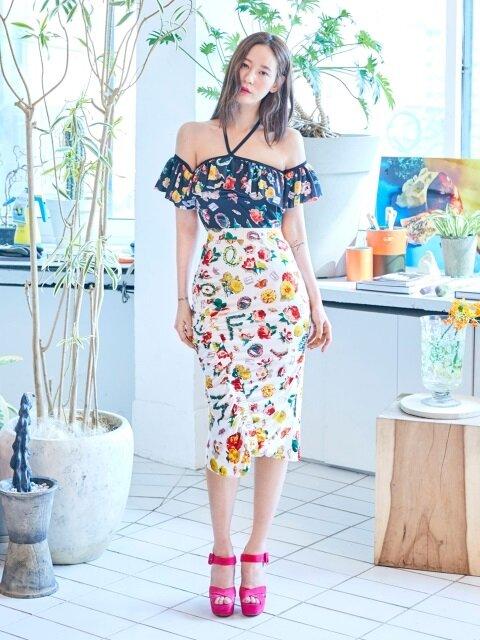 Flower Shirring Skirt