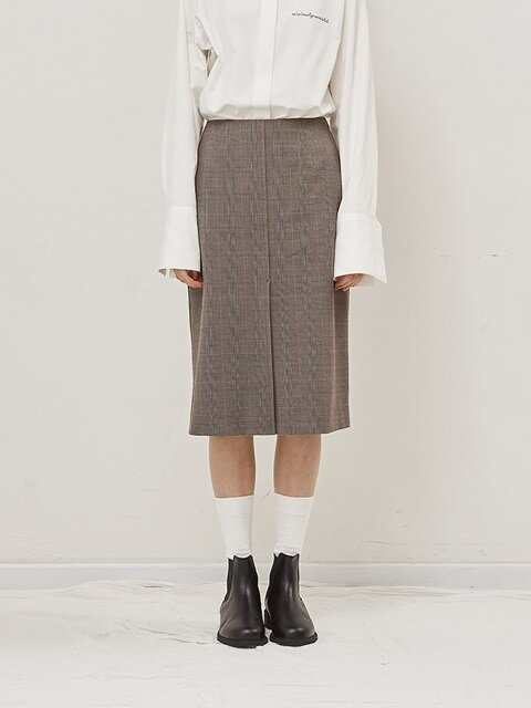 Glen check midi skirt