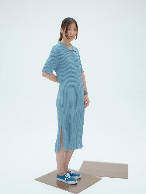 LIGHT BLUE LINEN BLENDED COLLAR KNIT DRESS