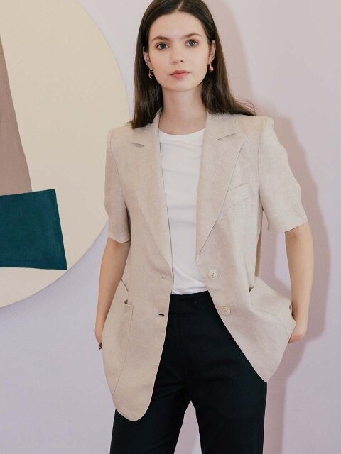 linen short jacket - beige